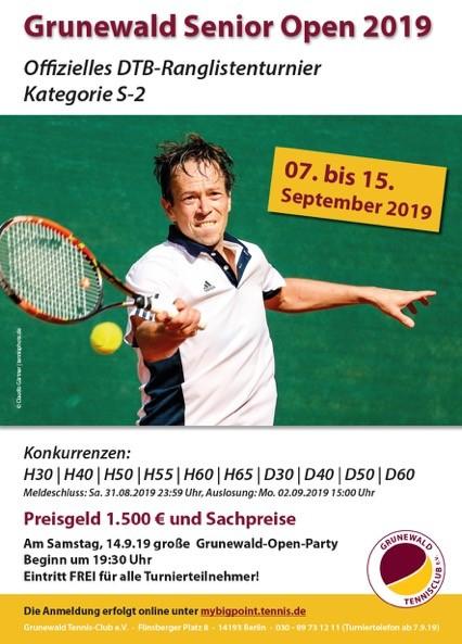 Grunewald Senior Open 2019 - Sonntag beginnen die Matches um 9:15 Uhr - Finals ab 12 Uhr