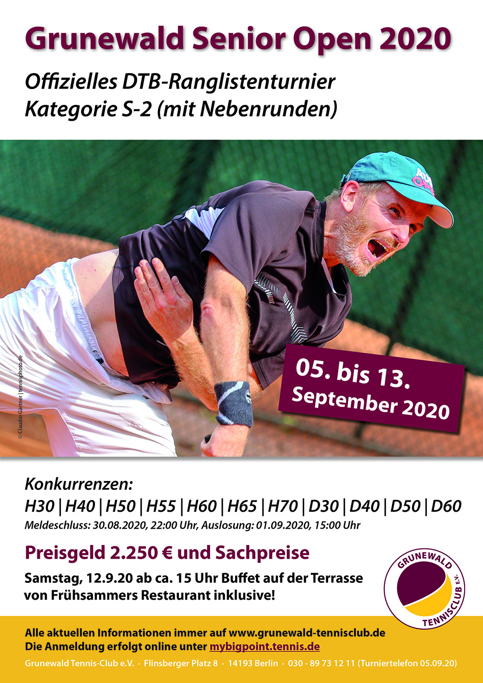 Grunewald Senior Open 2020 (S-2) - Endspiele am Sonntag ab 10:30 Uhr
